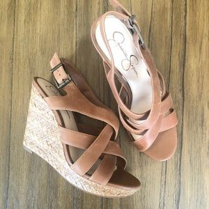Jessica Simpson NWOT brown leather strappy wedges